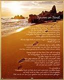 Motivation Mini-Poster und Kunststoff-Rahmen - Spuren Im Sand (50 x 40cm)