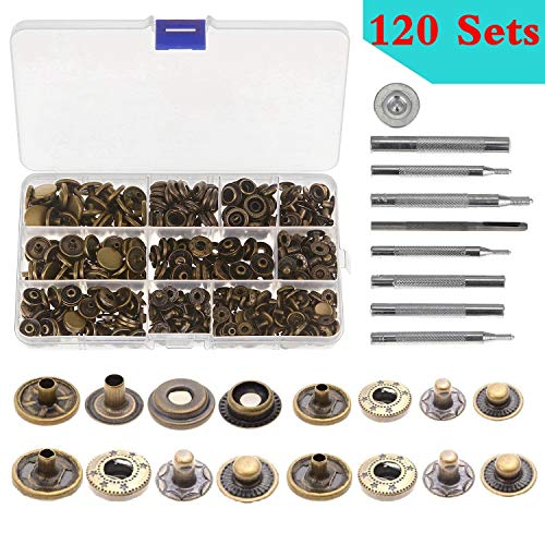 Aiskaer 120 Sets Snap Fasteners Kit, Metal Snap Buttons Press Studs with 9 Pieces Fixing Tools, Bronze Clothing Snaps Kit for Leather, Coat, Down Jacket, Jeans Wear and Bags (Leather Tools Snap)