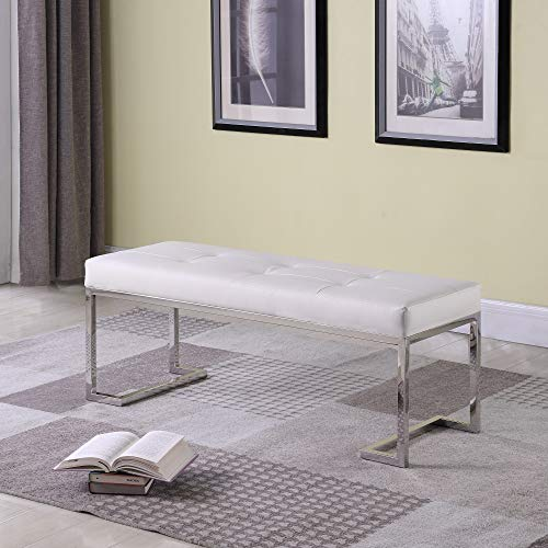 Strange DNA William Bench Rectangle Stainless Steel Frame with Tufted Faux Leather Fully Assembled Accent Long Dining Bench Seat Furniture for Living Room, Entryway or Hallway White