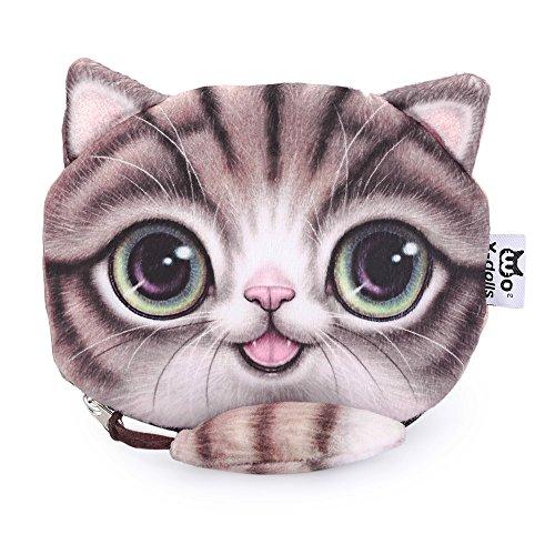 TrendsGal® Women's Cartoon Cat Zipper Ladies Workmanship Change Purse(Coffee)