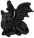 "Custom & Unique {6.5"" x 5"" Inch} 1 Single, Home & Garden ""Standing"" Figurine Decoration Made of Grade A Resin w/ Perched Overseer Cat Gothic Winged Gargoyle Style {Black, & Grey}"