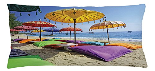 Balinese Decorative Umbrella (Balinese Throw Pillow Cushion Cover by Lunarable, Pristine Beach Bathed by the Bali Sandy Seashore Daytime Umbrellas Pillows Leisure, Decorative Square Accent Pillow Case, 36 X 16 Inches, Multicolor)