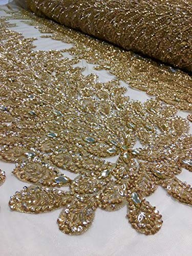 LUVFABRICS Vegas Peacock Mesh Sequin, Shiny, Fancy, Wedding, Prom, Dresses, Lingerie, Pageant, Costume, Gowns Fabric Sold by The Panel (Gold) ()