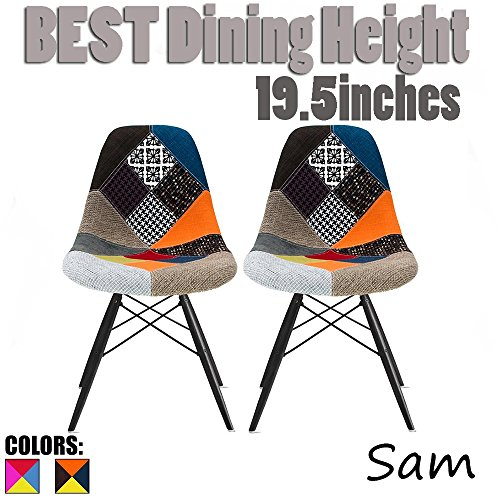 2xhome - Set of Two (2) Multicolor – Modern Upholstered Eames Style Side Fabric Chair Patchwork Multi-pattern Black Wood leg Eiffel Dining Room Chair No (Style Fabric Upholstered Chair)