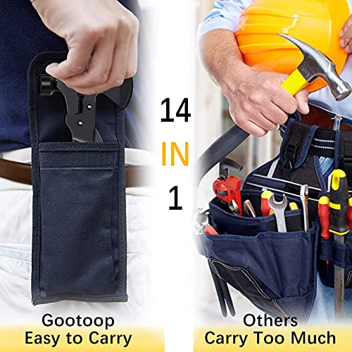Multitool Camping Accessories Survival Gear Ourdoor Multi Tool Gifts for Men Women 14 in 1 Hatchet Stainless Steel with Knife Axe Hammer Saw Screwdrivers Pliers Bottle Opener Durable Sheath