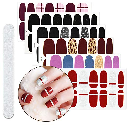 File Nail Sticker - 6 Sheets D Full Nail Art Polish Stickers Strips Self-Ashesive False Nail Design Manicure Set With 1Pc Nail Buffers Files