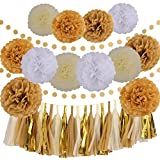 3 tear display - LyButty 35 Pcs Gold White Khaki Cream Party Decoration Kit with Tissue Paper Pom Poms Flowers Tissue Tassel Garland Polka Dot Paper Garland Perfect for Birthday Wedding Baby Bridal Shower Party Decor