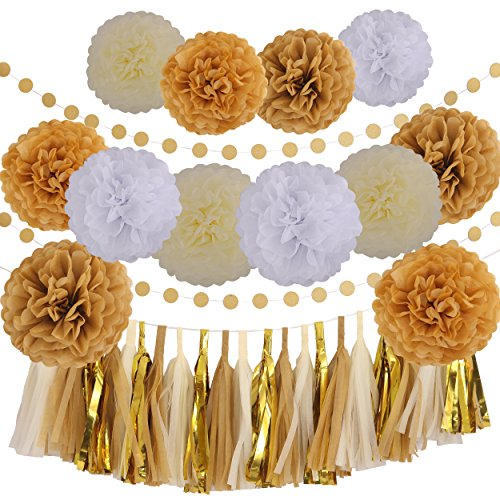 LyButty 35 Pcs Gold White Khaki Cream Party Decoration Kit with Tissue Paper Pom Poms Flowers Tissue Tassel Garland Polka Dot Paper Garland Perfect for Birthday Wedding Baby Bridal Shower Party Decor