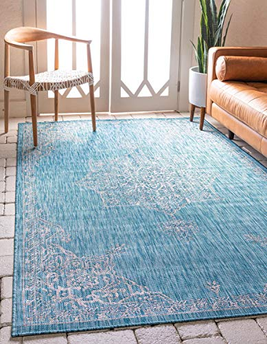 (Unique Loom Outdoor Traditional Collection Classic Medallion Transitional Indoor and Outdoor Flatweave Light Aqua  Area Rug (9' 0 x 12' 0))