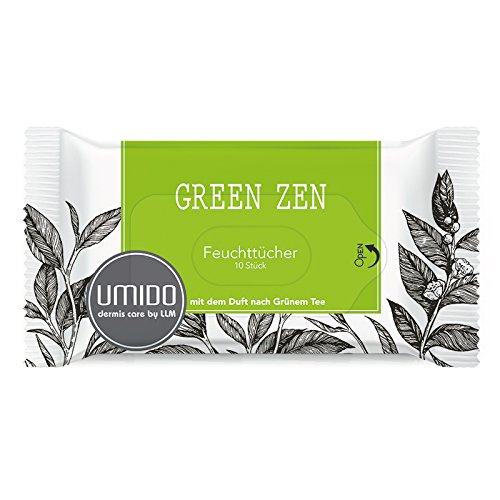 UMIDO Feuchttücher TO GO - 10 erfrischende Reinigungstücher im wiederverschließbaren Pack auch für unterwegs, Pflegetücher Kosmetiktücher Abschminktücher Hygienetücher mit dem Duft nach Grüner Tee, 1 x 10 Tücher (3.) (9.) (4.) Colour-Bags