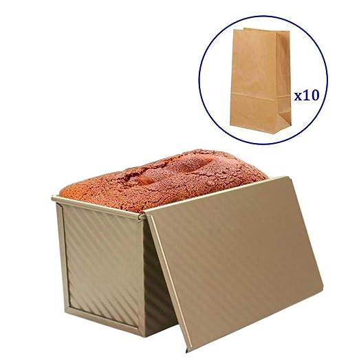 Xloves 1LB Molde para pan de acero al carbono con tapa ...