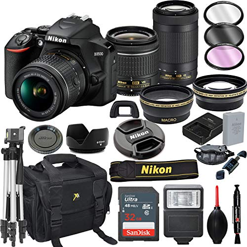 Nikon D3500 DSLR Camera with 18-55mm VR and 70-300mm VR Lens