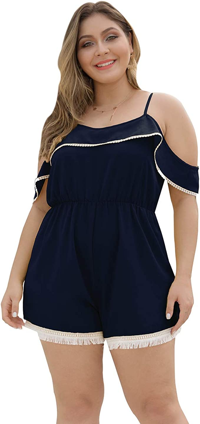 Womens Jumpsuit  Romper Plus Size Spaghetti Strap Back Tie  XL Blue
