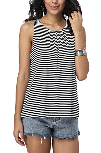 (iGENJUN Women's Summer Sleeveless Pleated Back Closure Casual Tank)