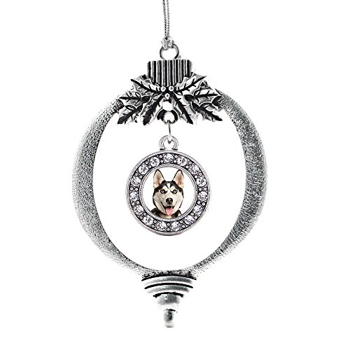 (Inspired Silver - Siberian Husky Charm Ornament - Silver Circle Charm Holiday Ornaments with Cubic Zirconia Jewelry)