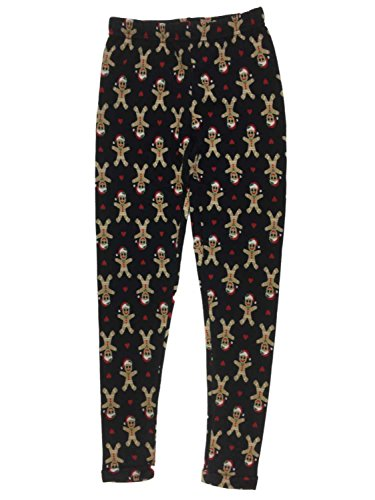 Junior Womens Blue Gingerbread Man Heart Fleece Lined Christmas Holiday Leggings (Boundary Fleece)