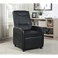 Hodedah Import HIR610 BLACK Single Recliner Chair
