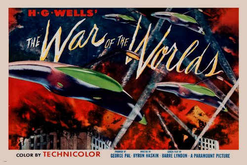 HG WELLS' WAR OF THE WORLDS movie poster CLASSIC SCI-FI lights space 24X36 (reproduction, not an original) (Classic Twenty Four Light)