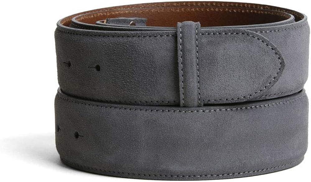 VaModa Belt, Cinturón en piel, modelo Island, colore gris, sin hebilla