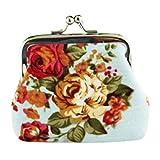 Hot Sale! Women Wallet,Canserin Women's Retro Vintage Flower Prints Small Wallet Hasp Canvas Coin Purse Clutch Bag (Light Blue)