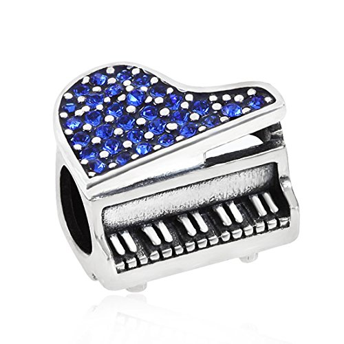 925 Sterling Silver Piano Charm with Crystal Music Charm Melody Charm Birthday Charm Anniversary Charm for Pandora Charms Bracelet (Blue)