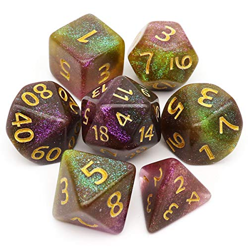 Haxtec Iridescent Glitter DND Dice Grey Purple Green Polyhedral D&D Dice for Roleplaying Dice Games Dungeons and Dragons-Moonlit River