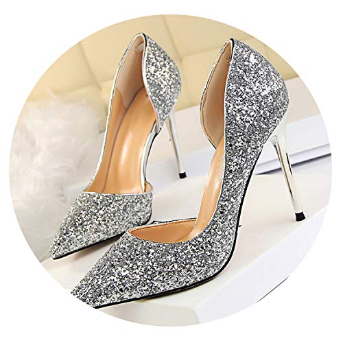 Elk fish Women Pumps Sexy High Heels Shoes Women Shoes Thin Heels Female Shoes Wedding Shoes Ladies Shoes,7.5 Silver