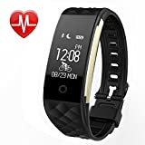 Fitness Tracker - MJFOX Heart Rate Monitor Smart Bracelet Wireless Bluetooth IP67 Waterproof Band Wristband Watch with Health Sleep Activity Tracker Pedometer for iPhone Samsung iOS Android Phone-BLK