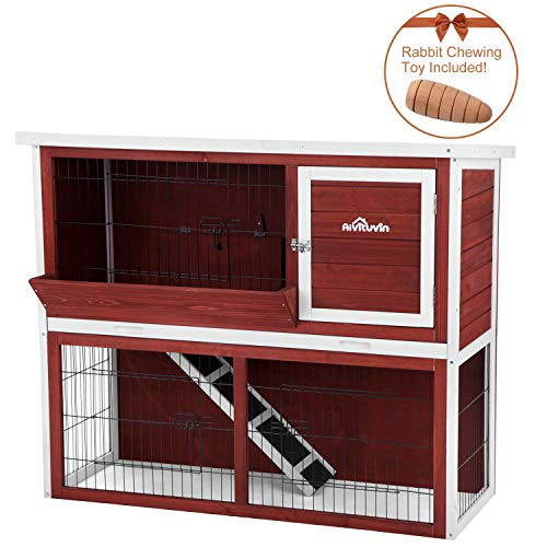 Aivituvin Rabbit Cage, Rabbit Hutch for Indoor & Outdoor, 44 inch 2- Story Bunny Cages for Small Animals, Bunny Cage with Metal Feeder & Chew Toy  (Aubur, Rabbit Hutch #06)