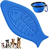 Newstarxy Dog Lick Pad, FDA Approved Pet Bath Distraction Toy - Peanut Butter Pad with Suction Cup and Bumper - Bath Helper Makes Easy and Funny Shower for Dogs, Fish Shape