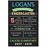 First Day of School Chalkboard Stats Sign Back to School Photo Prop Poster - Blue