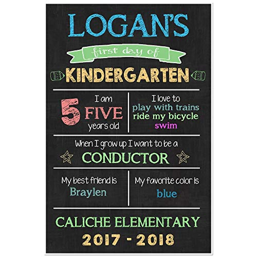 First Day of School Chalkboard Stats Sign Back to School Photo Prop Poster - Blue by Paper Blast