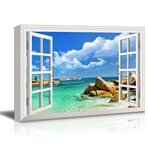 Creative Window View Tropical Landscape Seychelles Paradise