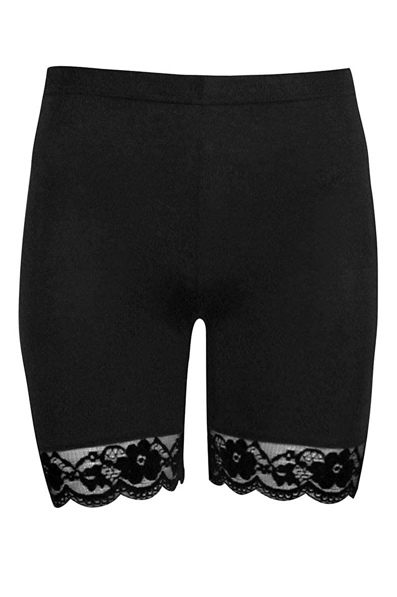 UK Ladies Cycling Shorts Gym Hot Pants Scallop Lace Trim Jersey Gym Bike Tights