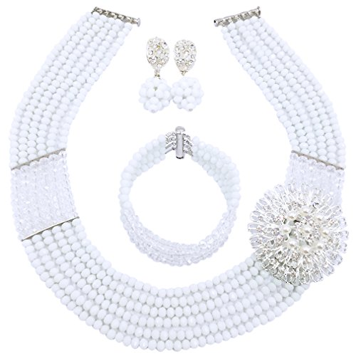 aczuv Nigerian Wedding African Beads Jewelry Set Crystal Beaded Necklace Earrings (White Transparent 02)