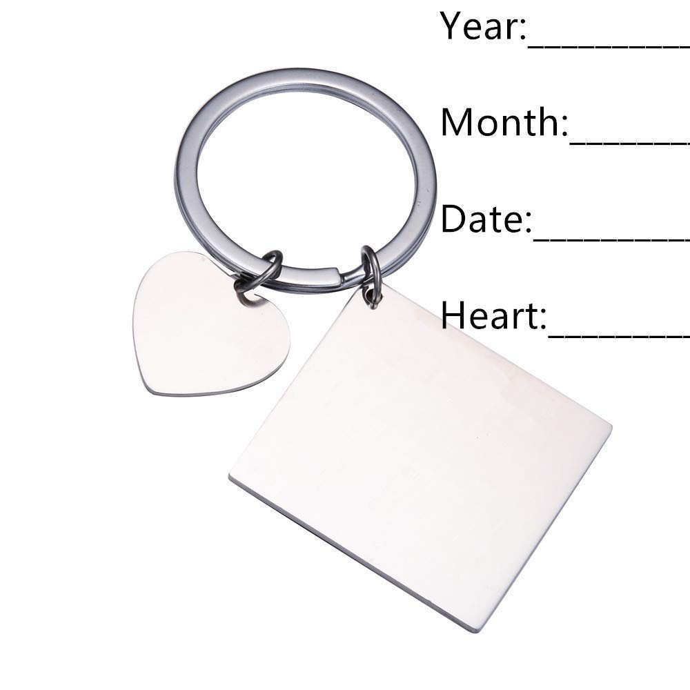 Personalized Custom Engraved Calendar Date Engraved Message Stainless Steel  Keyring & Keychain Memorial Keepsake Anniversary Wedding Gift (Heart