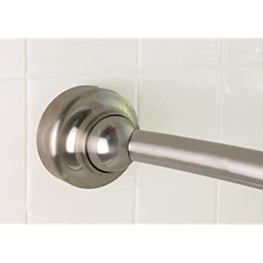"""Rotator Rod Curved Shower Rod – For Small Bathrooms Brushed Nickel Shower Rod Flips In and Out For Space- No Shower Rod Tension So No Center """"Ledge"""" To Catch Curtain   Fits All Standard Tubs 58.5-60"""