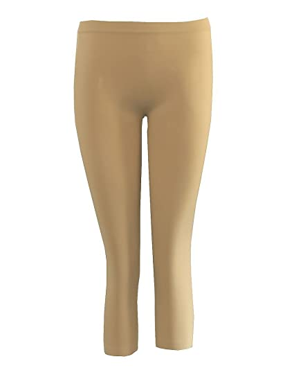 Khaki Beige Ladies Ankle Leggings, Made in USA