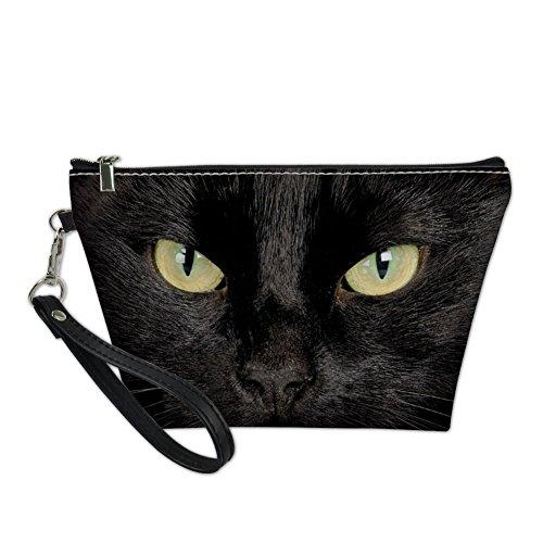 HUGS IDEA Cool Cat Face Trapezoid Makeup Pouch Ladies Travel Protable Leather Toiletry Bag
