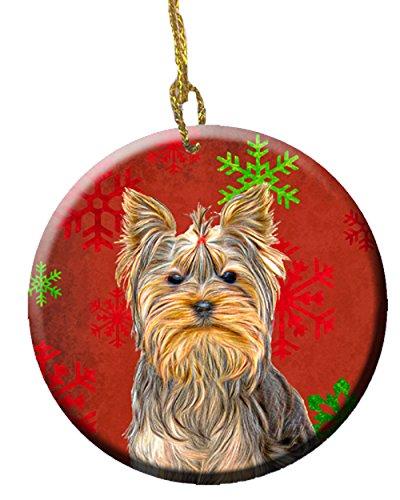 Caroline's Treasures Red Snowflakes Holiday Christmas Yorkie/Yorkshire Terrier Ceramic Ornament KJ1184CO1 Caroline' s Treasures