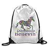 Zhanzy Dont Stop Believin Unicorn 7 Large Drawstring Sport Backpack Sack Bag Sackpack