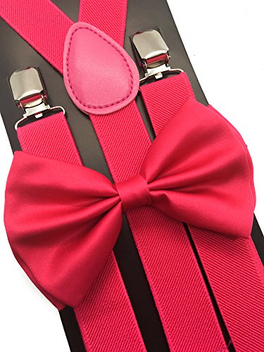 4everStore Unisex Bow Tie & Suspender Sets, Hot Pink]()
