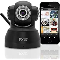 Pyle Indoor Wireless Security IP Camera - Home WiFi Remote Video Monitor w/ Motion Detection and Night Vision - PTZ Pan Tilt Network Surveillance, Voice Mic Audio Microphone for Mobile, Windows & Mac