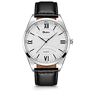 Men's Quartz Watch , Aposon Business Casual Larger Analog Wrist Watch Leather Band Outdoor Sports Roman Numeral Watches -Black