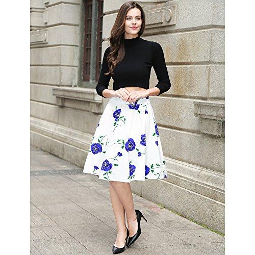 Falda plisada del patín de la falda de la alta cintura de las mujeres floral / de los lunares Blanco Rosa-Azul