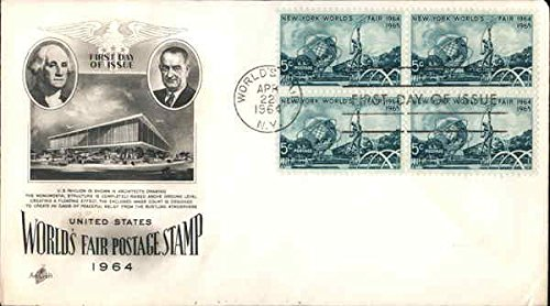 United States World's Fair Postage Stamp 1964 Block of Stamps Original First Day Cover (Fair Worlds Block)