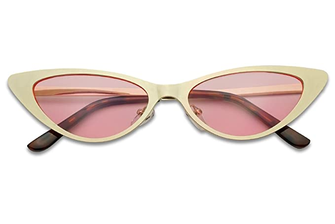 549c615205fc SunglassUP - Flat Full Metal Round Oval Cat Eye Sun Glasses Narrow Color  Tinted Shades (