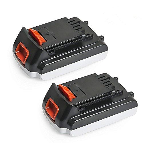 NeBatte 2 Pack 20V 2500mAh Lithium-Ion Battery Replacement Compatible with Black & Decker LBXR20 LBXR20-OPE LB20 LBX20 LBX4020 LB2X4020-OPE Cordless Power Tools by NeBatte