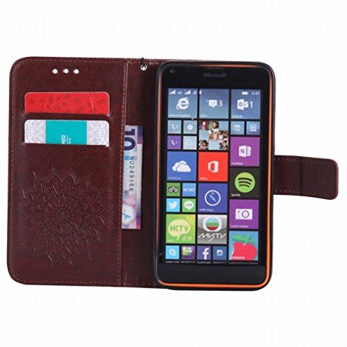 LEMORRY Microsoft Lumia 640 LTE Custodia Pelle Cuoio Flip Portafoglio Borsa Sottile Bumper Protettivo Magnetico Morbido Silicone TPU Cover Custodia per Microsoft Lumia 640 LTE, Fiorire Marrone
