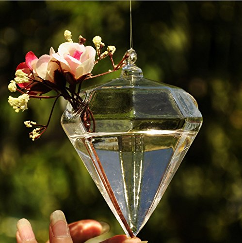 Glass Diamond Shape Flower Plant Hanging Vase Handmade, Hand-blown With Can Hang The In Bedroom, Living Room, Office.